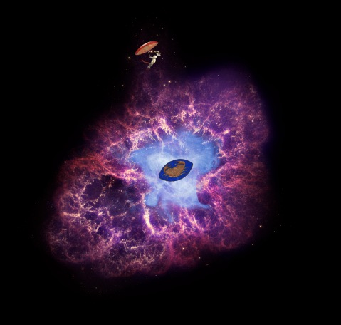 A star's spectacular death in the constellation Taurus was observed on Earth as the supernova of 1054 A.D. Now, almost a thousand years later, a superdense neutron star left behind by the stellar death is spewing out a blizzard of extremely high-energy pa